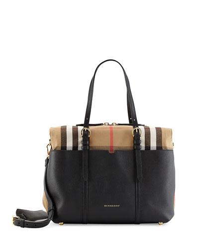 Mason Check-Trim Leather Tote Bag, Black