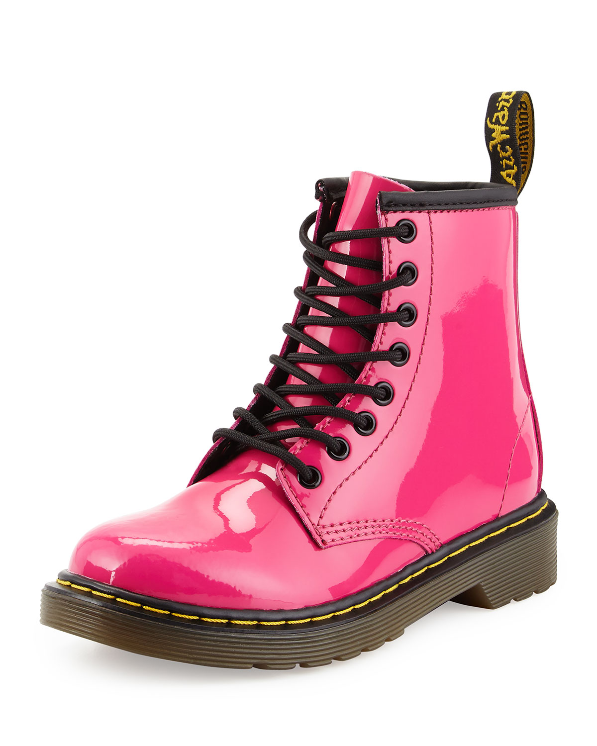 Delaney Patent Leather Military Boot, Hot Pink, Youth