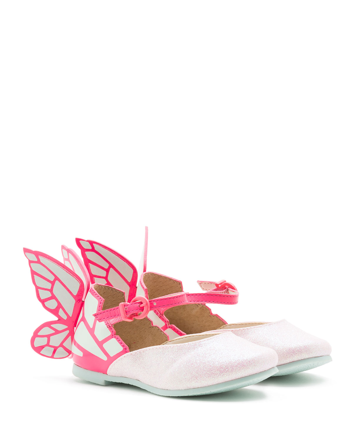 Sophia Webster Chiara Leather - Trim Butterfly Mary Jane Flat, Toddler / Youth Sizes 7T - 2Y