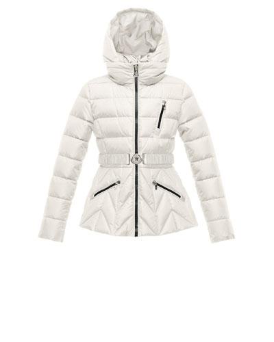 Bernadette Belted Puffer Coat, Cream, Size 8-14