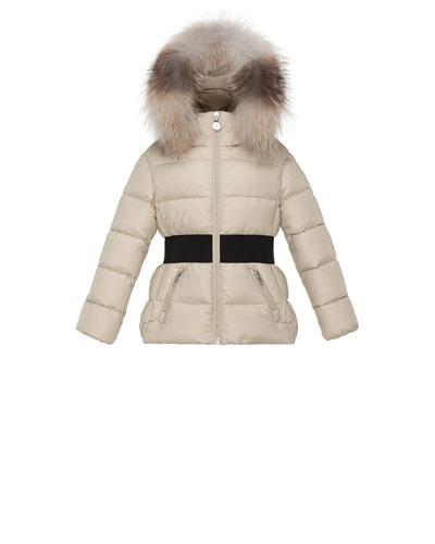 Aimee Hooded Fur-Trim Puffer Coat, Champagne, Size 8-14