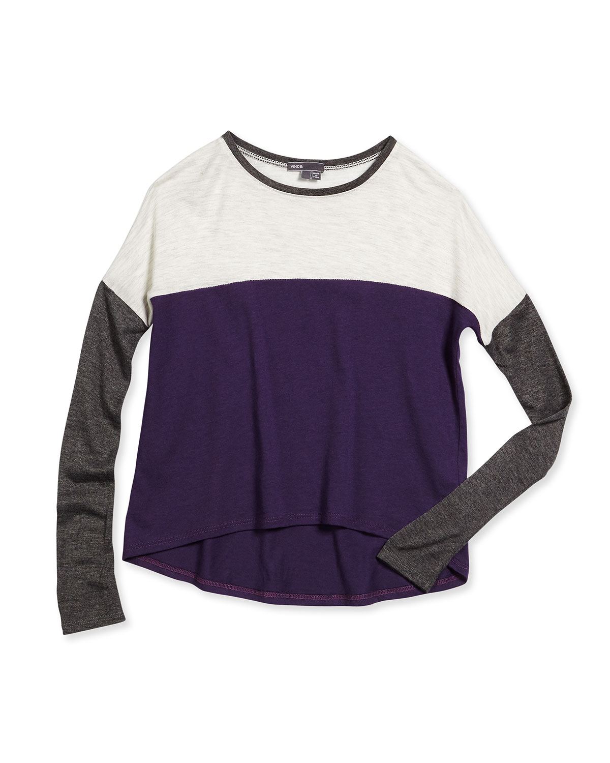 Favorite Long-Sleeve Colorblock Tee, Purple/Gray, Size S-XL