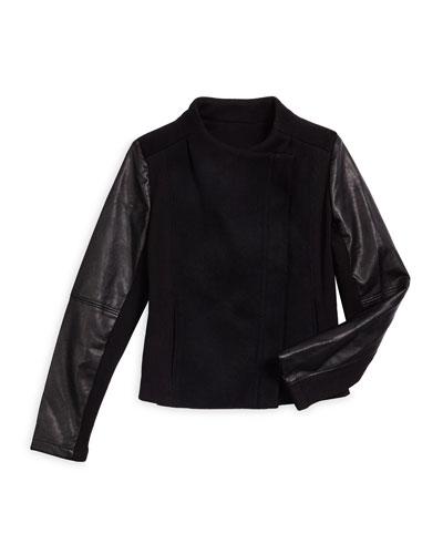 Faux-Leather-Trim Wool-Blend Combo Jacket, Black, Size S-XL