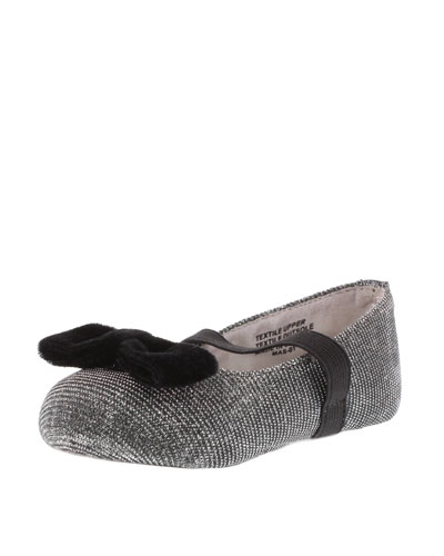 Metallic-Mesh Ballet Flat, Silver, Youth