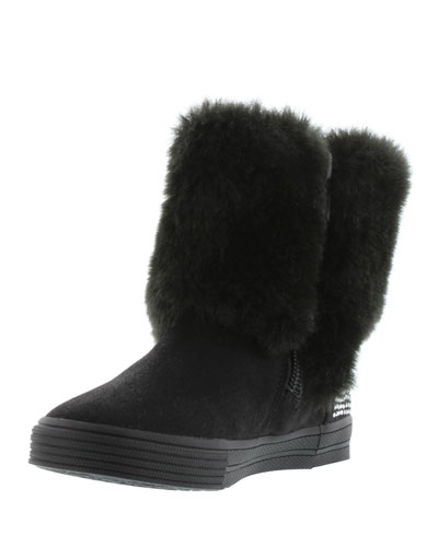 Vance Faux-Fur-Trim Microsuede® Bootie, Black, Toddler