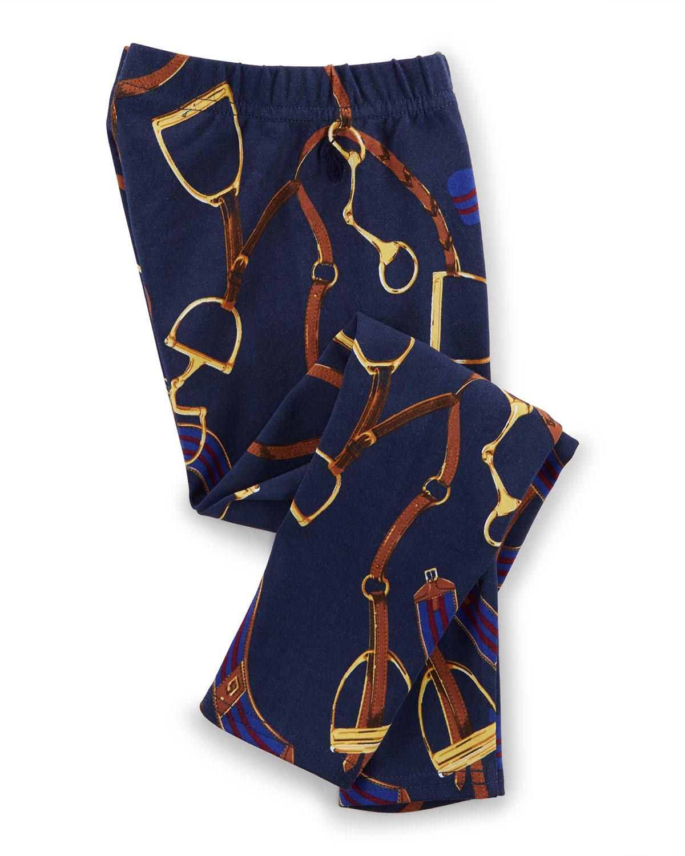 Equestrian-Print Stretch Leggings, Blue, Size 2T-6X