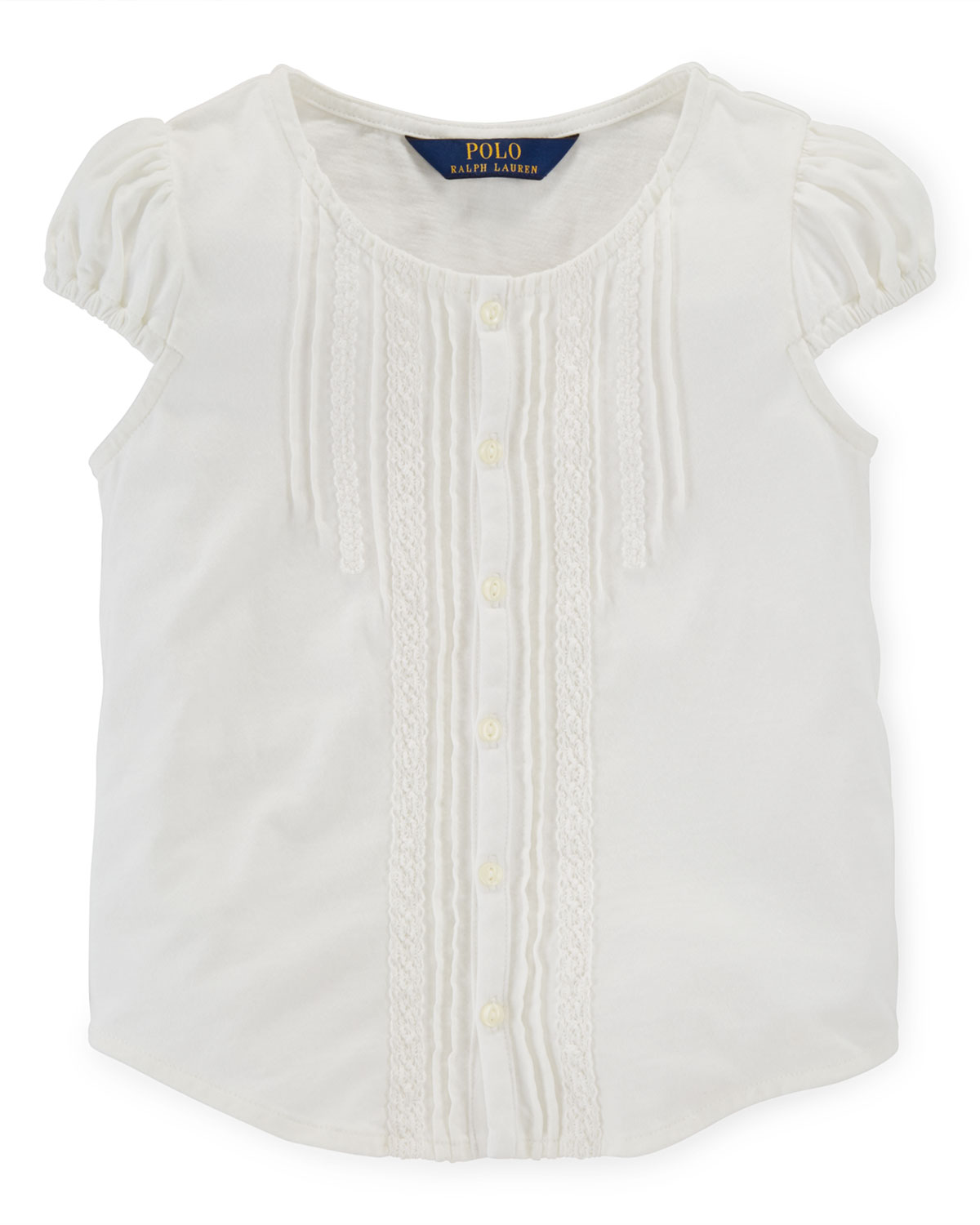 Cap-Sleeve Pintucked Jersey-Knit Top, Trophy Cream, Size 2T-6X