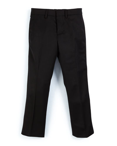 Wool Slim-Fit Tuxedo Pants, Black, Size 4-14