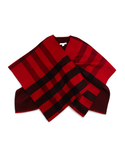 Charlotte Wool Check Cape, Parade Red