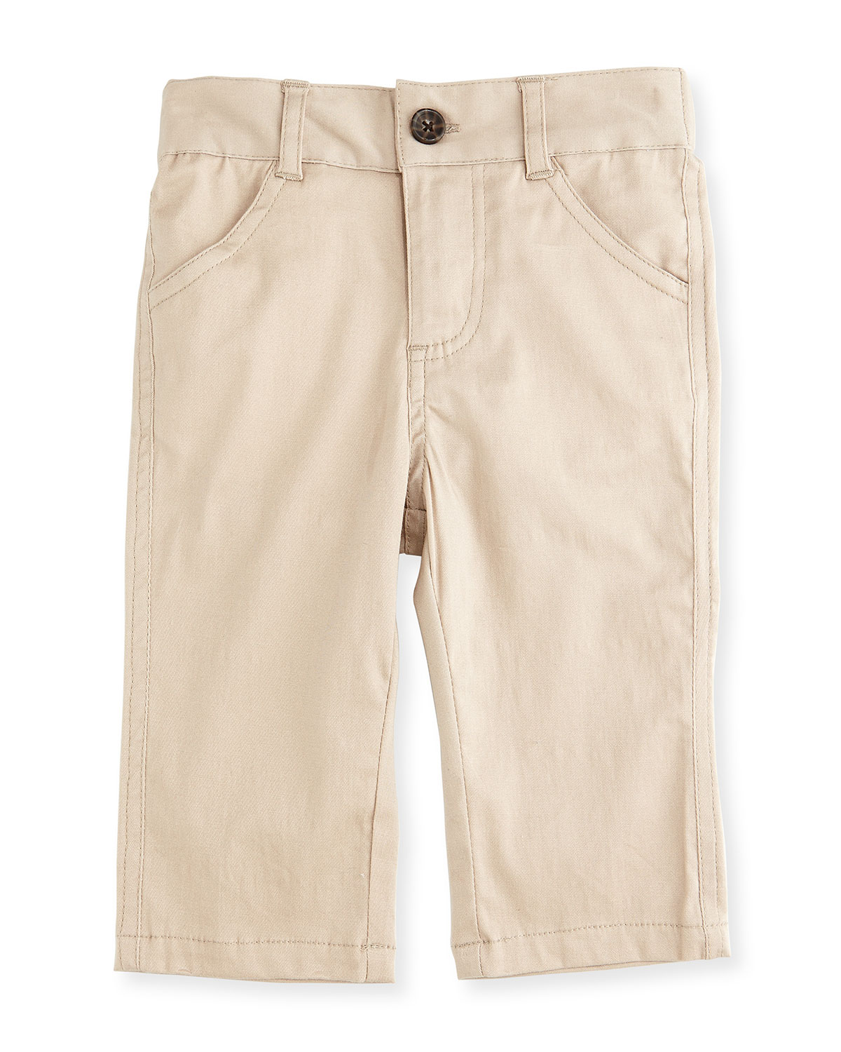 Andy & Evan Twill Straight - Leg Pants, Khaki, Size 2T - 7Y