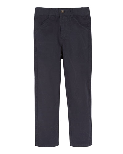 Twill Straight-Leg Pants, Navy, Size 2T-7Y