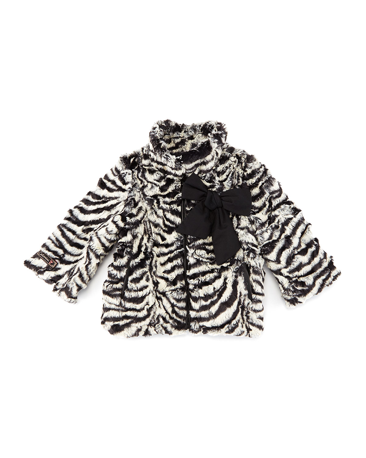 Zebra-Print Faux-Fur Coat, Black/White, Size 3-6