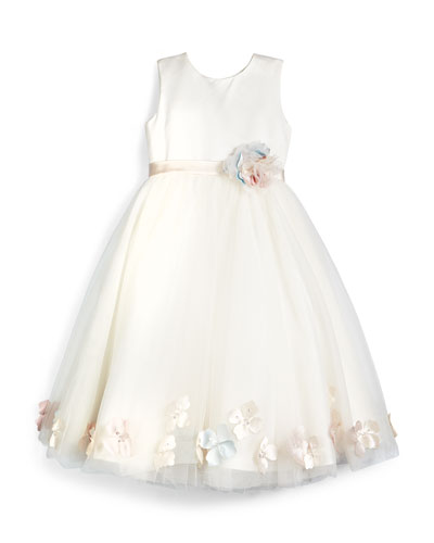 Sleeveless Floral-Trim Satin & Tulle Dress, Ivory, Size 4-14