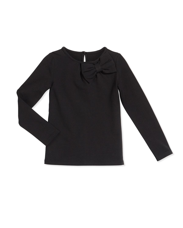 long-sleeve bow-trim knit top, black, size s-xl