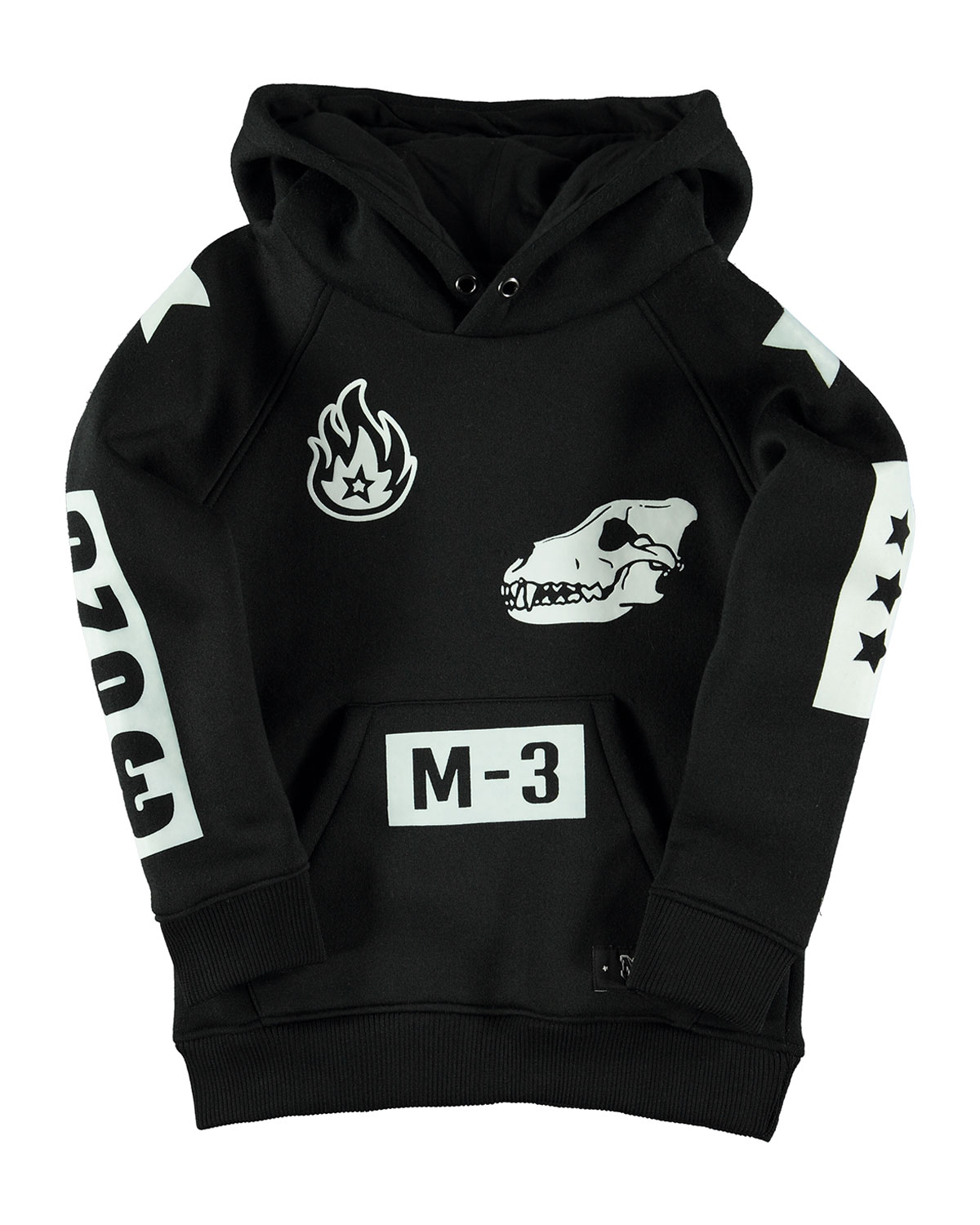 Mikkel Hooded Multi-Graphic Sweatshirt, Black, Size 4-14