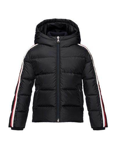 Odile Hooded Down Coat, Navy, Size 8-14