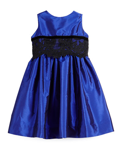 Sleeveless Lace-Trim Party Dress, Royal, Size 4-6