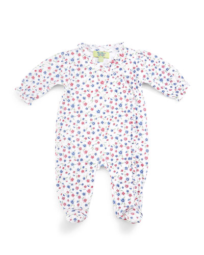 QT Cherry Blossom Pima Footie Pajamas, White/Blue, Size 0-9 Months
