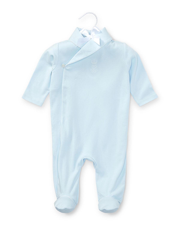 Ralph Lauren Childrenswear Kids' Shawl-collar Pima Footie Pajamas, Beryl Blue