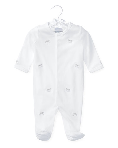 Rocking Horse Pima Footie Pajamas, White, Size 3-9 Months