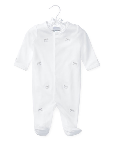 Ralph Lauren Childrenswear Rocking Horse Pima Footie Pajamas, White, Size 3-9 Months