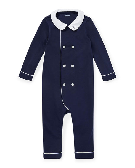 Ralph Lauren Childrenswear Double-Breasted Cotton Coverall, French Navy, Size 3-12 Months