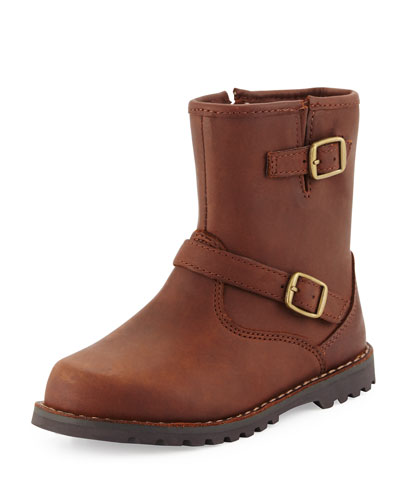 Harwell Leather Buckle-Trim Boot, Stout, Toddler