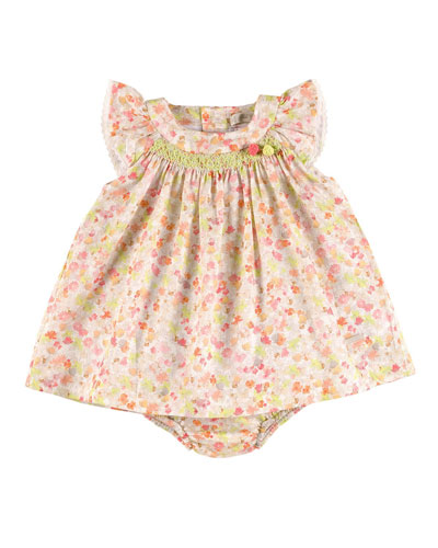Sleeveless Embroidered Floral Shift Dress w/ Bloomers, Pink/Green, Size 3M-2