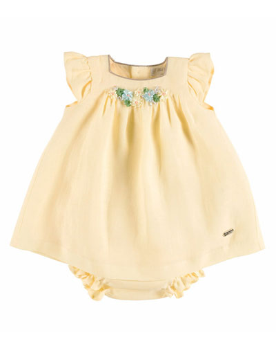 Sleeveless Floral-Trim Linen Dress w/ Bloomers, Yellow, Size 6M-2