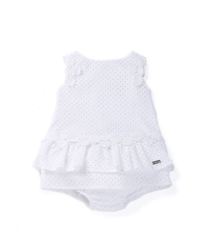Sleeveless Eyelet Shift Dress w/ Bloomers, White, Size 6M-3