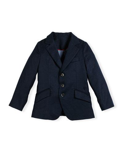 Ramie-Blend Three-Button Blazer, Navy, Size 4-10