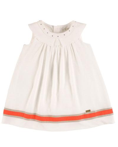 Sleeveless Collared Linen-Trim Shift Dress, White, Size 2-10