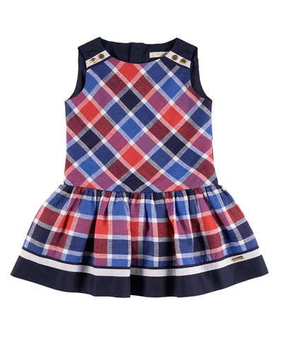 Sleeveless Plaid Popover Dress, Red/Blue, Size 4-10