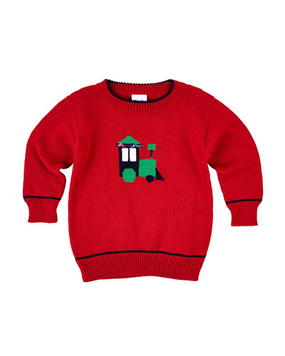 Boys' Knit Train Intarsia Sweater, Size 2-4