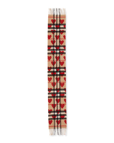 Girls' Cashmere Heart-Print Check Scarf, Tan/Red