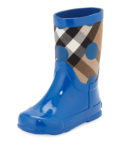 Ranmoor Polka-Dot Rubber Rain Boot, Lupin Blue, Toddler