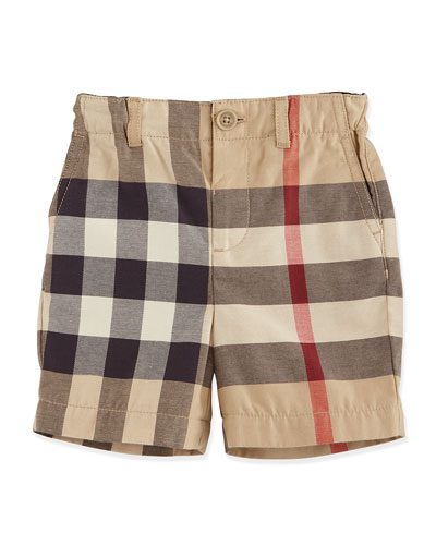 Sean Cotton Check Shorts, Tan, Size 3M-3