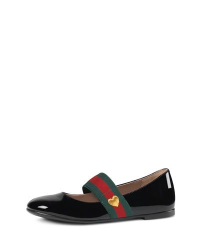 Patent Leather Mary Jane Flat, Black, Youth
