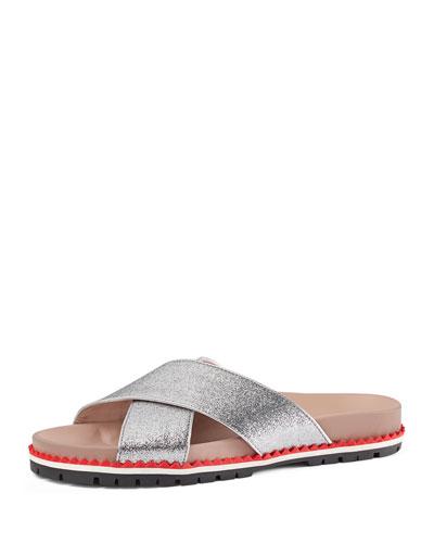 Metallic Leather Crisscross Sandal, Argento, Youth