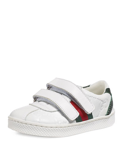 Guccissima Leather Grip-Strap Sneaker, White, Toddler