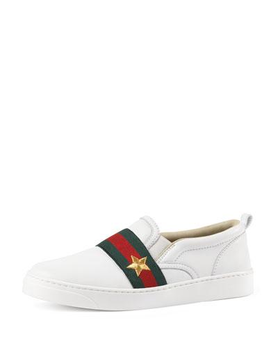 Leather Slip-On Skate Shoe, White, Youth