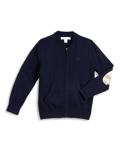 Jaxson Zip-Front Cotton Cardigan, Navy, Size 4-14