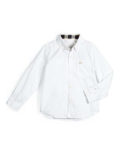 Fred Solid Poplin Shirt, White, Size 4-14