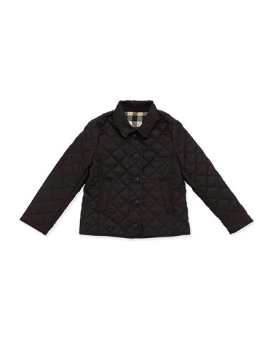 Ashurst Quilted Button-Front Jacket, Black, Size 4-14