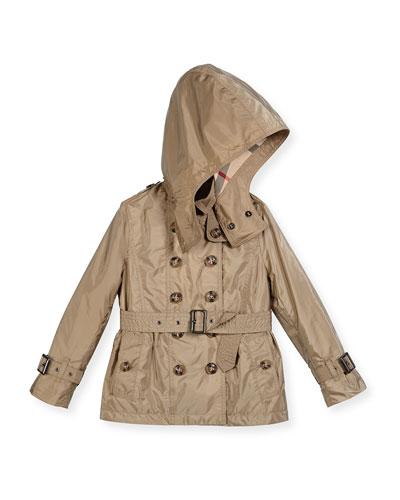 Shiny Grangemoore Hooded Trenchcoat, Sisal, Size 4-14