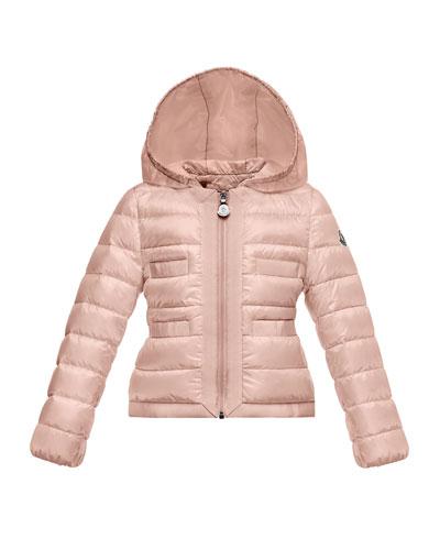 Alose Hooded Lightweight Down Puffer Coat, Light Pink, Size 2-3
