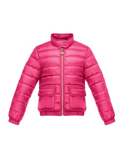 Lans Flap-Pocket Lightweight Down Puffer Jacket, Fuchsia, Size 8-14