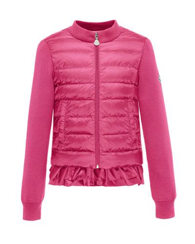 Maglia Tricot-Trim Puffer Jacket, Fuchsia, Size 8-14
