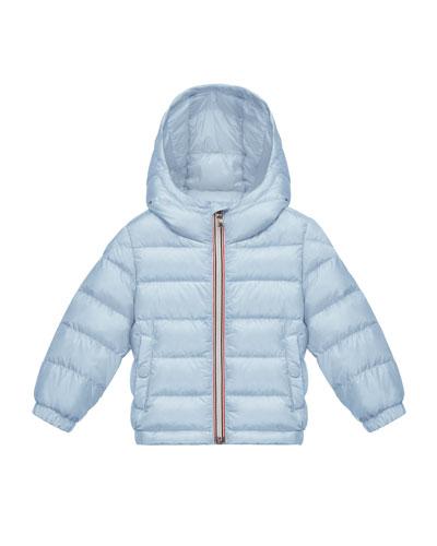 Dominic Hooded Lightweight Down Puffer Coat, Light Blue, Size 12M-3