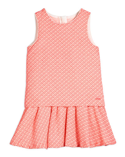 Sleeveless Fancy Tweed Fit-and-Flare Dress, Pink, Size 6-10